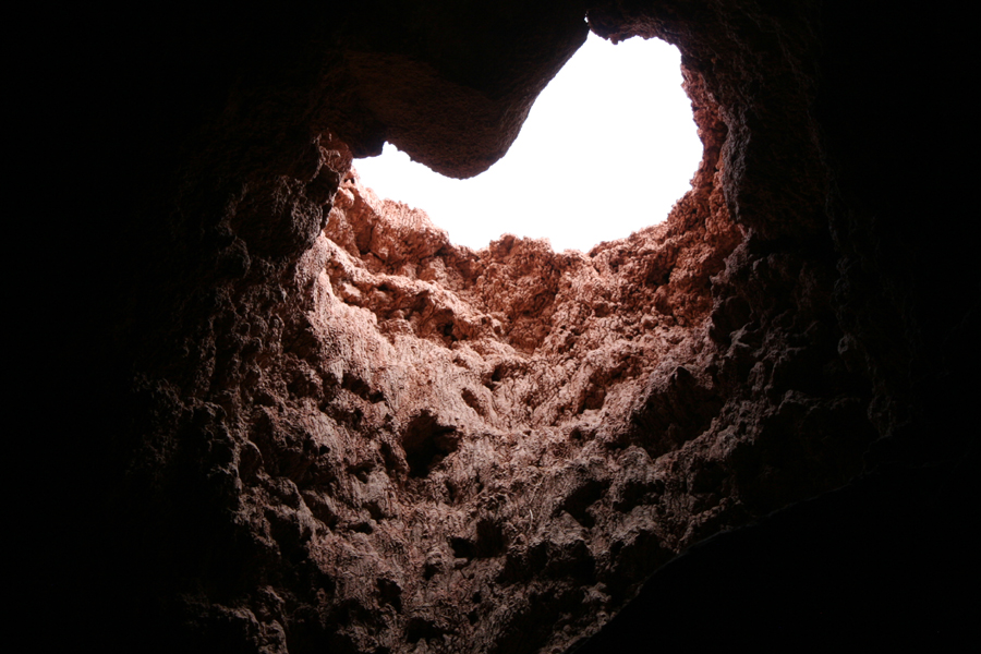 looking up cave