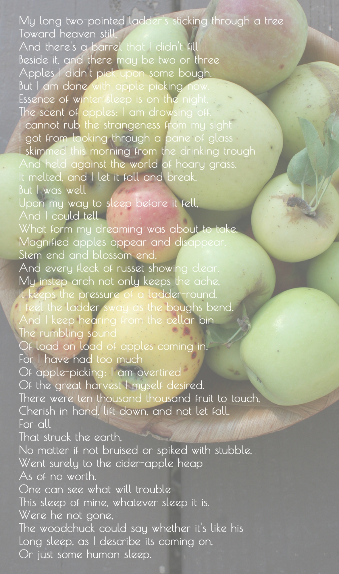 Robert Frost Afetr Apple Picking Poem