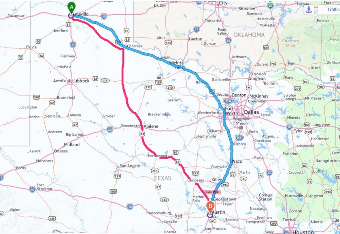 Texas Map_Amarillo to Austin