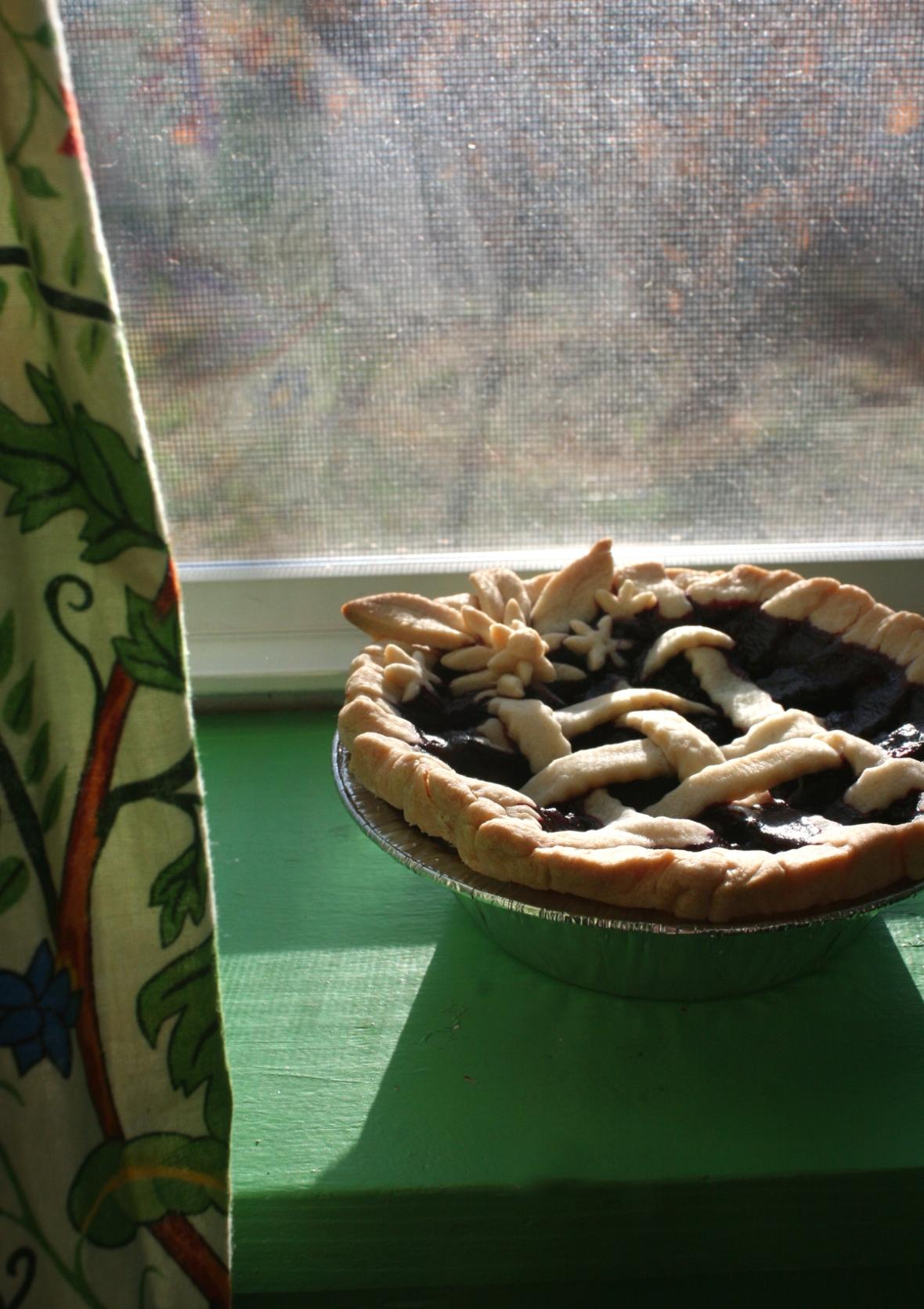 pie on windowsill