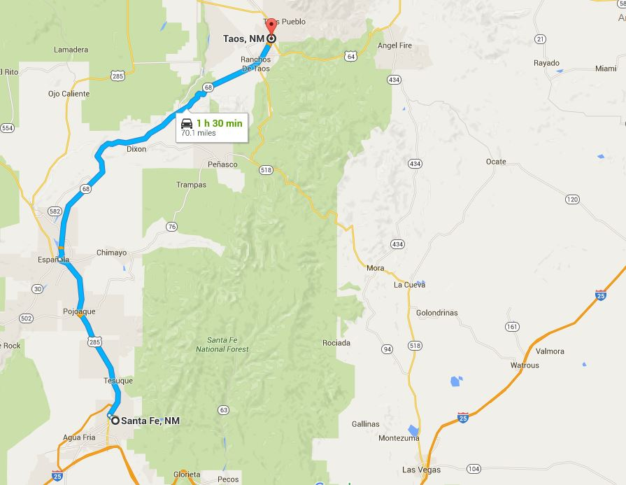 map of High road to Taos