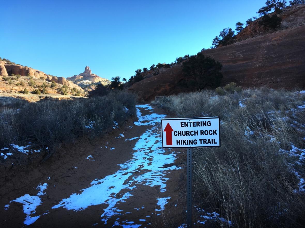 Entering church rock hiking trail