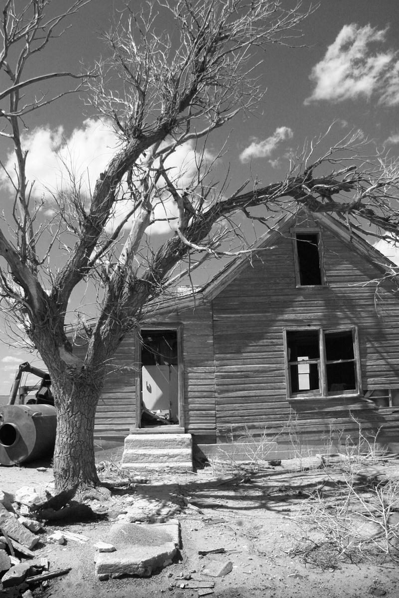 old trashy house black and white photography Kansas