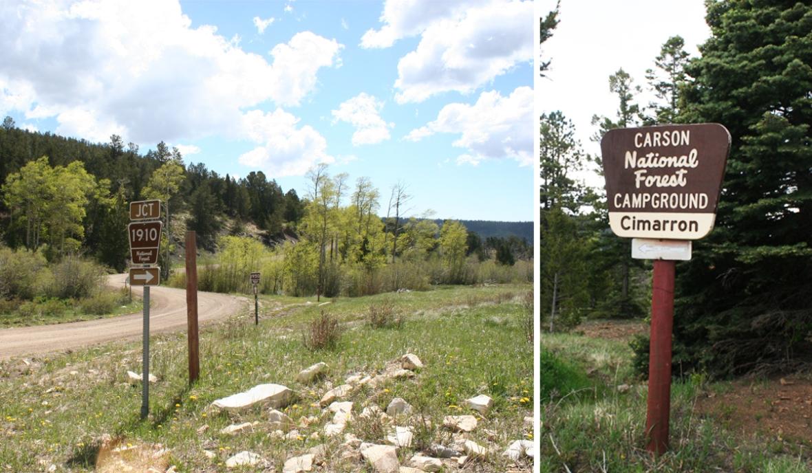Cimarron campground signs