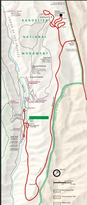 Bandelier Park map with trails